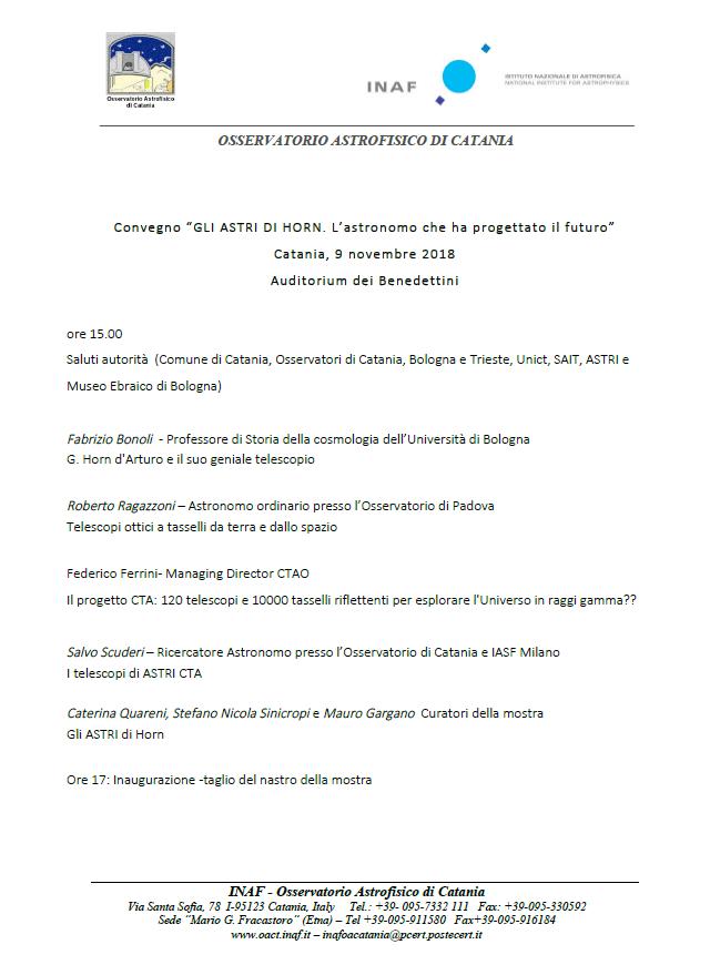 Conference Program - November, 9 2018 - Catania - Auditorium of Benedettini